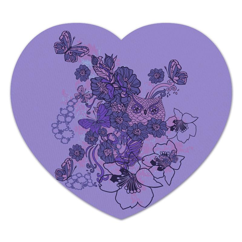 Коврик для мышки (сердце) Сова в цветах