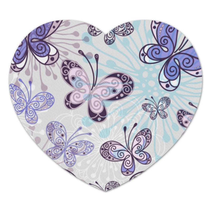 Коврик для мышки (сердце) Фиолетовые бабочки