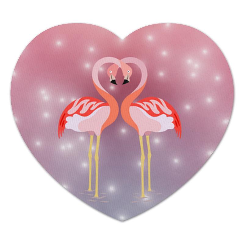 Коврик для мышки (сердце) Printio Влюбленные фламинго