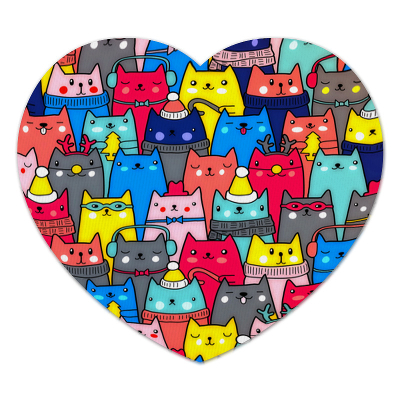 коврик для мышки printio нарядные котики Коврик для мышки (сердце) Printio Новогодние котики