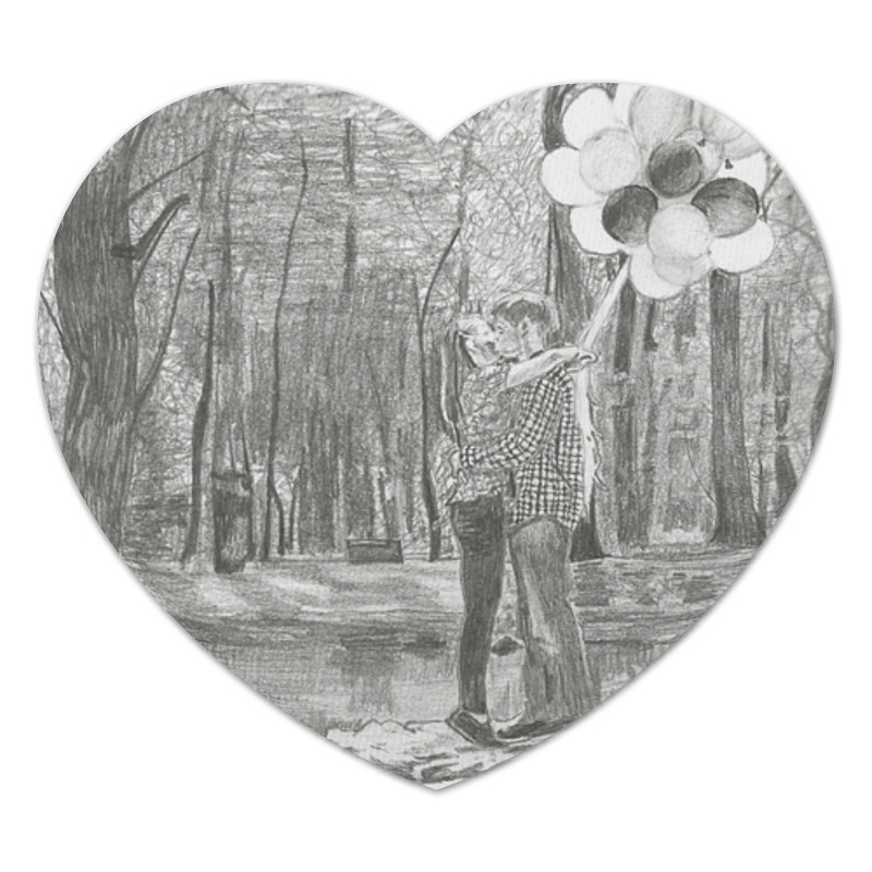 Коврик для мышки (сердце) Printio Влюбленная пара