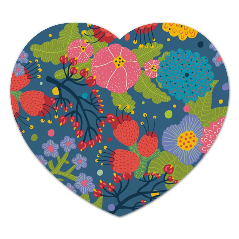 Коврик для мышки (сердце) Яркие цветочки