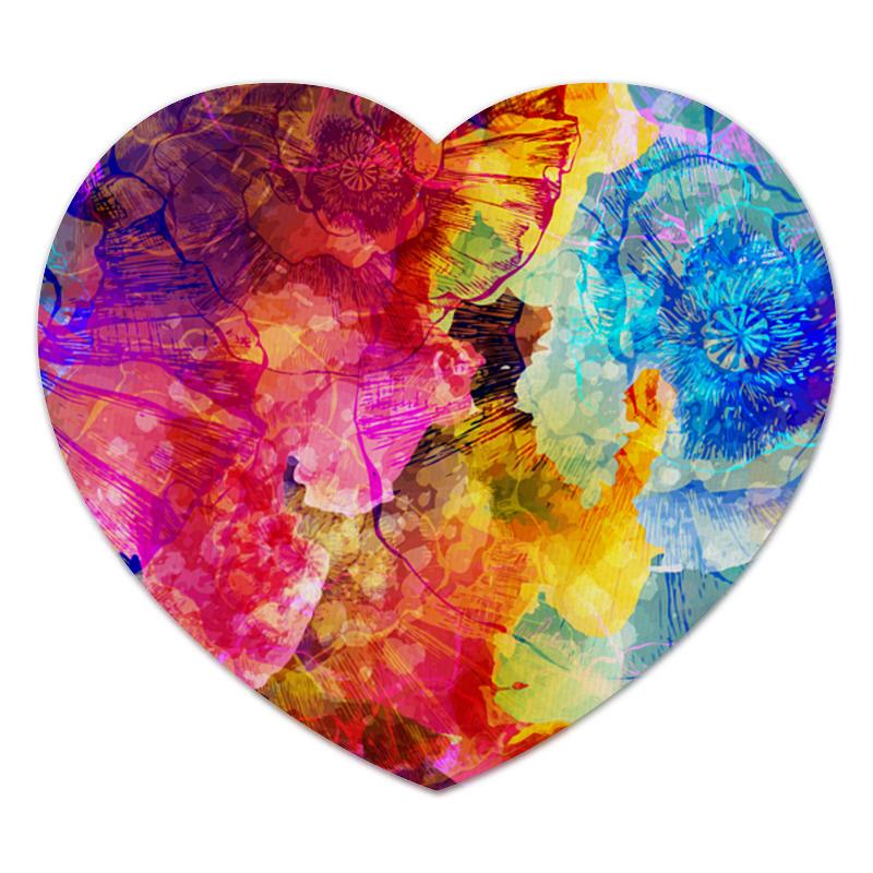 Коврик для мышки (сердце) Красочные цветы