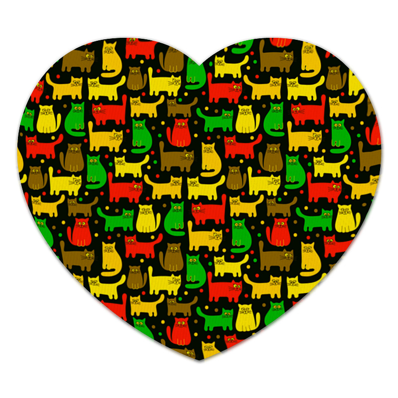 Коврик для мышки (сердце) Printio Цветные котята