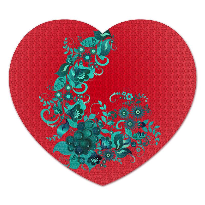 Коврик для мышки (сердце) Printio Цветочный узор