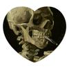 """Коврик для мышки (сердце) """"Череп с горящей сигаретой (Винсент Ван Гог)"""" - череп, картина, ван гог, живопись"""