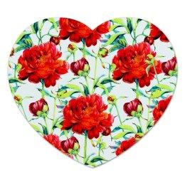 """Коврик для мышки (сердце) """"Цветочки"""" - лето, цветы, весна, цветочки, пионы"""
