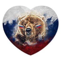 "Коврик для мышки (сердце) ""Русский Медведь"" - футбол, медведь, россия, флаг, триколор"