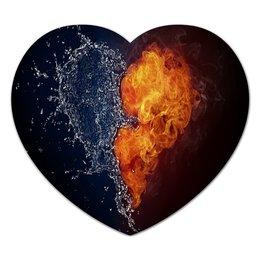 """Коврик для мышки (сердце) """"Огонь вода"""" - любовь, огонь, вода"""
