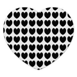 """Коврик для мышки (сердце) """"Черные сердечки"""" - сердце, любовь, узор, сердечки, день влюбленных"""