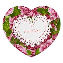 """Коврик для мышки (сердце) """"Любовь"""" - любовь, цветы, 8 марта, розы, день св валентина"""