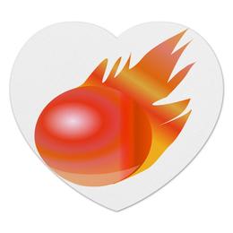 "Коврик для мышки (сердце) ""Огненный шар"" - огонь, ярко, коврик для мышки, шар, огненный шар"