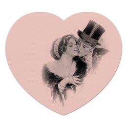 "Коврик для мышки (сердце) ""День Святого Валентина"" - настроение, винтаж, черно-белый, 14фев, harrison fisher"