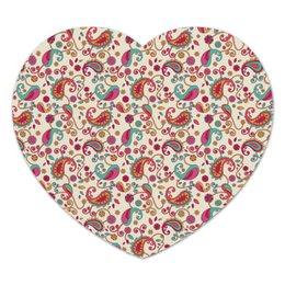 """Коврик для мышки (сердце) """"Пейсли (Яркий)"""" - цветы, узор, лепестки, лепесток, пейсли"""