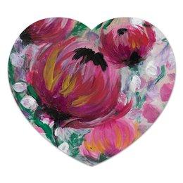 """Коврик для мышки (сердце) """"Полевые цветы"""" - лето, цветы, весна, розовый, подарок"""