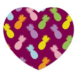 "Коврик для мышки (сердце) ""Ананасы!"" - паттерн, радуга, фрукты, узор, ананас"