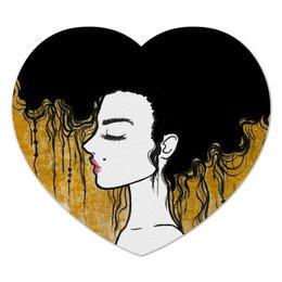 """Коврик для мышки (сердце) """"Golden"""" - любовь, девушка, золотой, климт"""