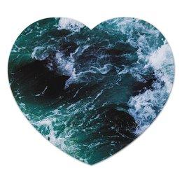 "Коврик для мышки (сердце) ""Бескрайнее море"" - лето, море, небо, дно, стихия"