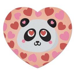 """Коврик для мышки (сердце) """"Влюбленная панда"""" - любовь, панда, сердечки"""