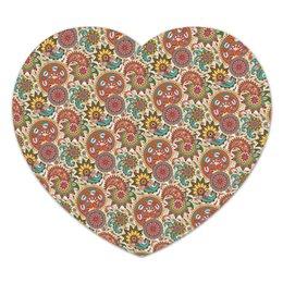 """Коврик для мышки (сердце) """"Пейсли (Народные мотивы)"""" - узор, пейсли, лепесток, цветы, цветок"""