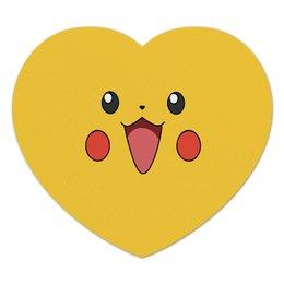 "Коврик для мышки (сердце) ""Pikachu"" - для детей, pokemon, покемон, пикачу, pikachu"
