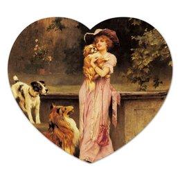 "Коврик для мышки (сердце) """"Дневная прогулка"""" - новый год, картина, собака, винтаж, живопись"