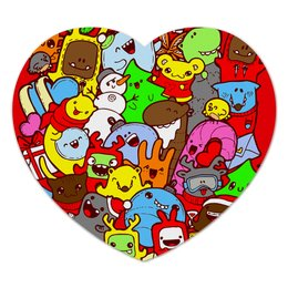 "Коврик для мышки (сердце) ""Дудлы"" - праздник, новый год, ярко, new year, мульт"