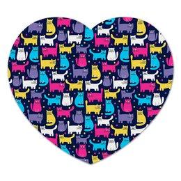"""Коврик для мышки (сердце) """"Кошки"""" - кот, животные, кошки, коты, котики"""