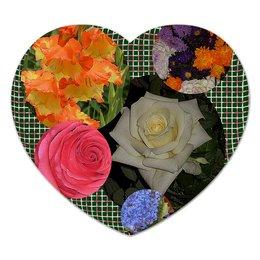 """Коврик для мышки (сердце) """"Цветочная фантазия."""" - цветы, цветок, роза, букет, цветник"""