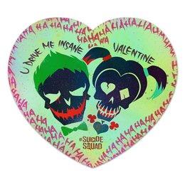 """Коврик для мышки (сердце) """"Харли и Джокер"""" - любовь, джокер, харли квинн, отряд самоубийц, психи"""