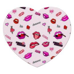 """Коврик для мышки (сердце) """"День Св. Валентина"""" - сердце, губы, день св валентина"""