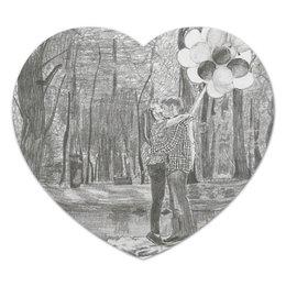 """Коврик для мышки (сердце) """"Влюбленная пара"""" - рисунок, природа, пара"""