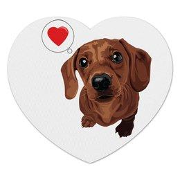 """Коврик для мышки (сердце) """"Такса -любовь"""" - такса, dachshund"""