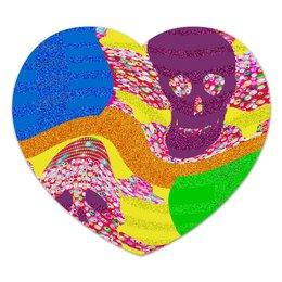 """Коврик для мышки (сердце) """"Золотой песок"""" - черепа, пираты, побережье, полоски, сокровища"""