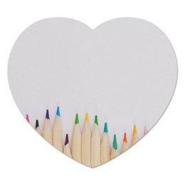 "Коврик для мышки (сердце) ""Карандаши"" - рисунок, осень, карандаши, цветные карандаши, рисунок карандашами"