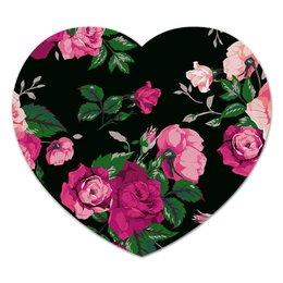 """Коврик для мышки (сердце) """"Цветы"""" - цветы, flowers, pink"""