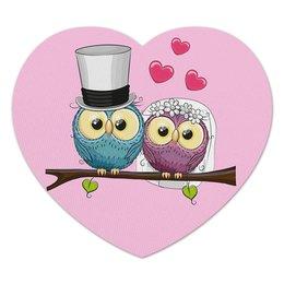 """Коврик для мышки (сердце) """"Любовь"""" - сердце, любовь, свадьба, сова, день св валентина"""