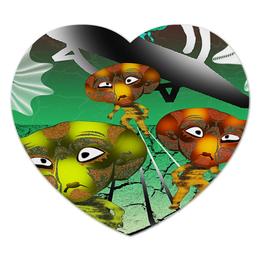 """Коврик для мышки (сердце) """"Инопланитяне"""" - нло, марсиане, инопланитяне, лунатики, летающая тарелка"""