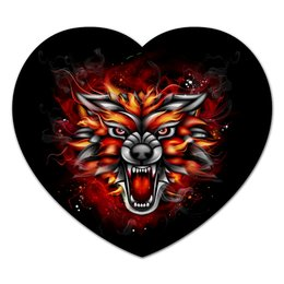 "Коврик для мышки (сердце) ""Wolf & Fire"" - огонь, волк, fire, wolf, дым"