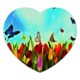"""Коврик для мышки (сердце) """"Весна"""" - бабочки, цветы, весна, природа, пейзаж"""
