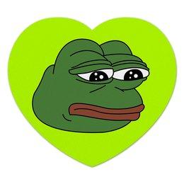 "Коврик для мышки (сердце) ""Грустная лягушка"" - мем, meme, грустная лягушка, sad frog, pepe frog"