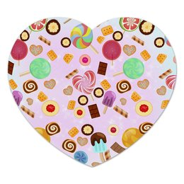 """Коврик для мышки (сердце) """"Сладкое сердце"""" - сердце, сладости, конфета, сладкое"""