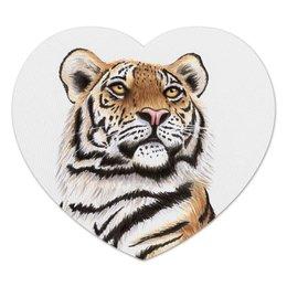 """Коврик для мышки (сердце) """"Взгляд тигра"""" - хищник, животные, взгляд, тигр, зверь"""