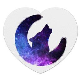 "Коврик для мышки (сердце) ""Space animals"" - space, луна, animal, wolf, месяц"