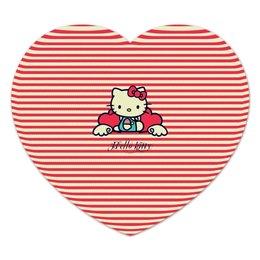 """Коврик для мышки (сердце) """"Ретро (Hello Kitty)"""" - hello kitty, мультфильм, котик, в полоску, рэтро"""