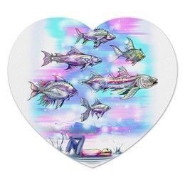 """Коврик для мышки (сердце) """"Underwater"""" - подводный мир, рыбы, фэнтези, фантазия, волшебный мир"""
