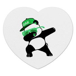 """Коврик для мышки (сердце) """"Dab Panda """" - животные, панда, panda, дэб, dab"""
