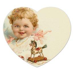"""Коврик для мышки (сердце) """"Маленький мальчик с игрушками"""" - ретро, мальчик, игрушки, ребёнок, старинный"""
