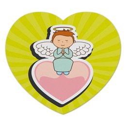 """Коврик для мышки (сердце) """"Ангелочек"""" - сердце, ангел, день валентина, любовь, крылья"""