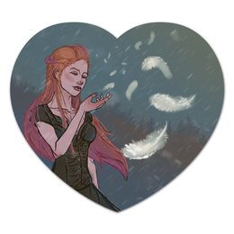 """Коврик для мышки (сердце) """"Перышко"""" - девушка, снег, рыжая, ветер, перышко"""